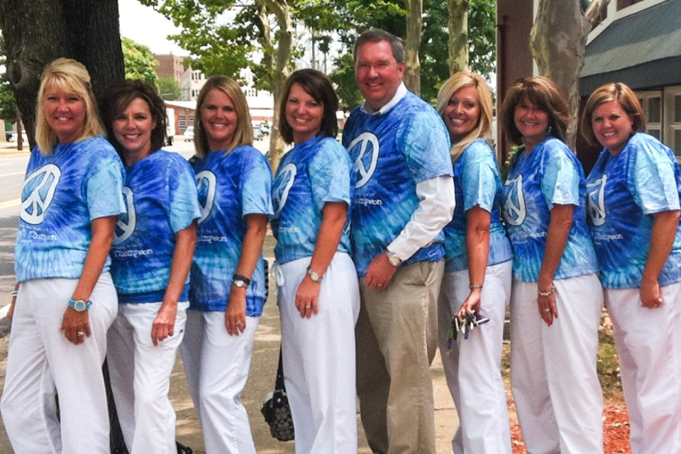 Sporting our Blue Tie Dyed Shirts